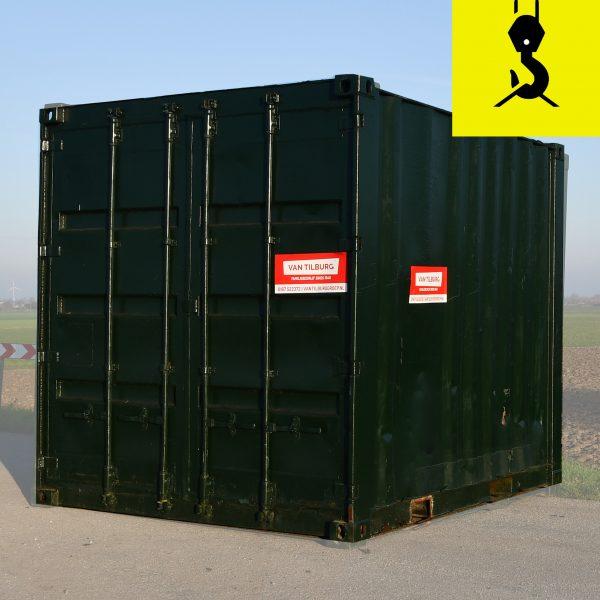 10ft-opslagcontainer met kraanwagen